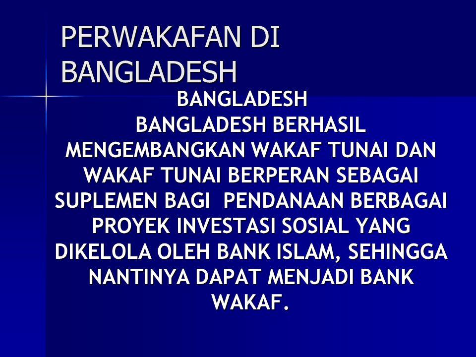 SASARAN DANA WAKAF YANG DIKELOLA OLEH SIBL (BANGLADESH) 1.