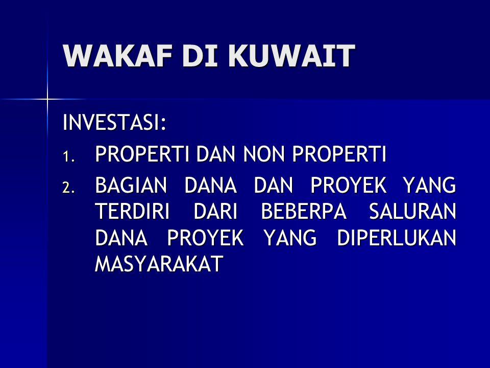 WAKAF DI KUWAIT INVESTASI: 1.PROPERTI DAN NON PROPERTI 2.