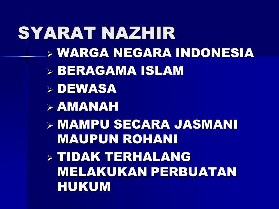 SYARAT NAZHIR  WARGA NEGARA INDONESIA  BERAGAMA ISLAM  DEWASA  AMANAH  MAMPU SECARA JASMANI MAUPUN ROHANI  TIDAK TERHALANG MELAKUKAN PERBUATAN HUKUM