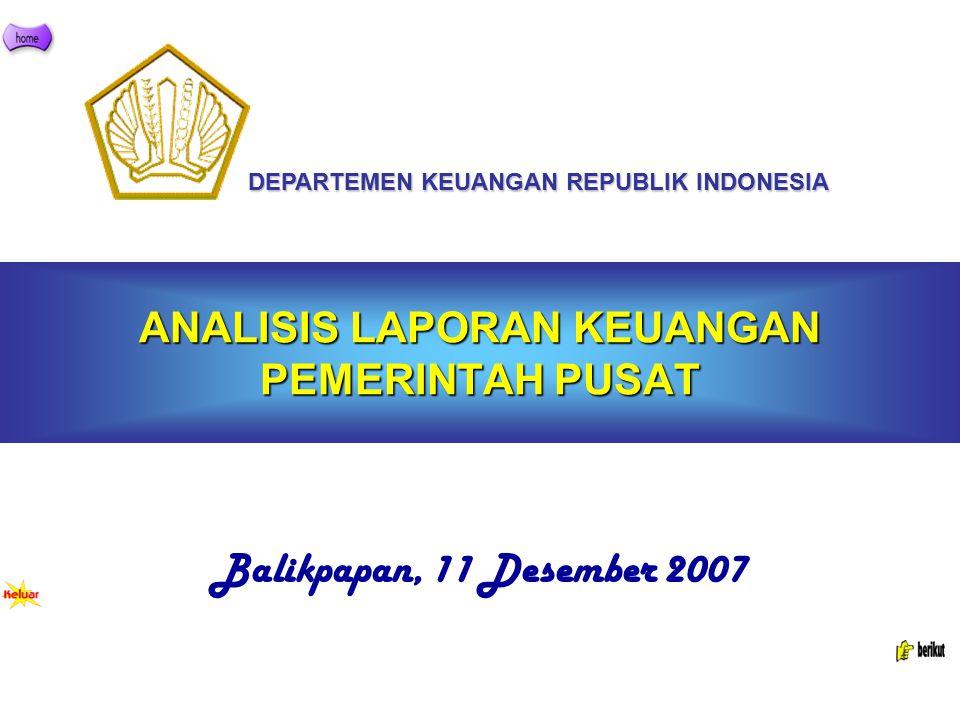 ANALISIS LAPORAN KEUANGAN PEMERINTAH PUSAT Balikpapan, 11 Desember 2007 DEPARTEMEN KEUANGAN REPUBLIK INDONESIA