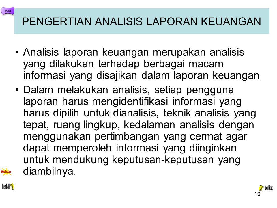 10 PENGERTIAN ANALISIS LAPORAN KEUANGAN Analisis laporan keuangan merupakan analisis yang dilakukan terhadap berbagai macam informasi yang disajikan d
