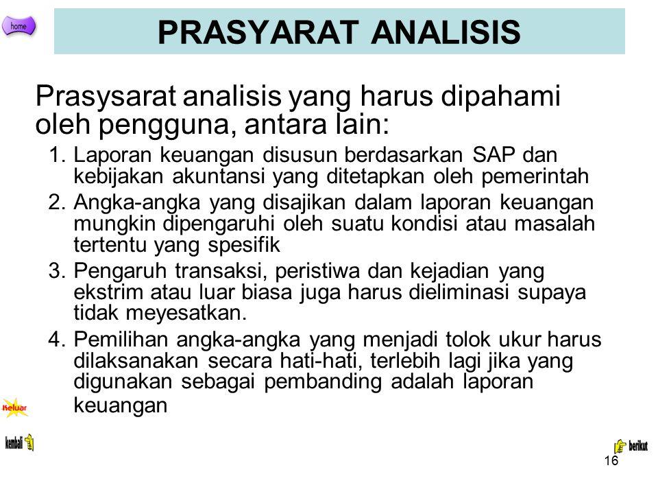 16 PRASYARAT ANALISIS Prasysarat analisis yang harus dipahami oleh pengguna, antara lain: 1.Laporan keuangan disusun berdasarkan SAP dan kebijakan aku