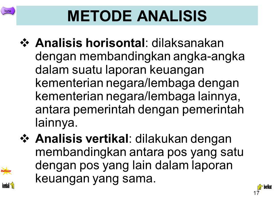17 METODE ANALISIS  Analisis horisontal: dilaksanakan dengan membandingkan angka-angka dalam suatu laporan keuangan kementerian negara/lembaga dengan