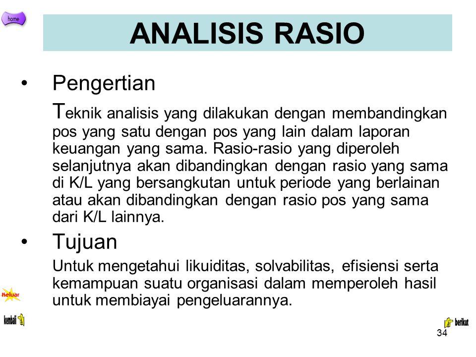 34 ANALISIS RASIO Pengertian T eknik analisis yang dilakukan dengan membandingkan pos yang satu dengan pos yang lain dalam laporan keuangan yang sama.