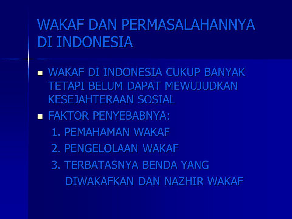 WAKAF DAN PERMASALAHANNYA DI INDONESIA WAKAF DI INDONESIA CUKUP BANYAK TETAPI BELUM DAPAT MEWUJUDKAN KESEJAHTERAAN SOSIAL WAKAF DI INDONESIA CUKUP BAN