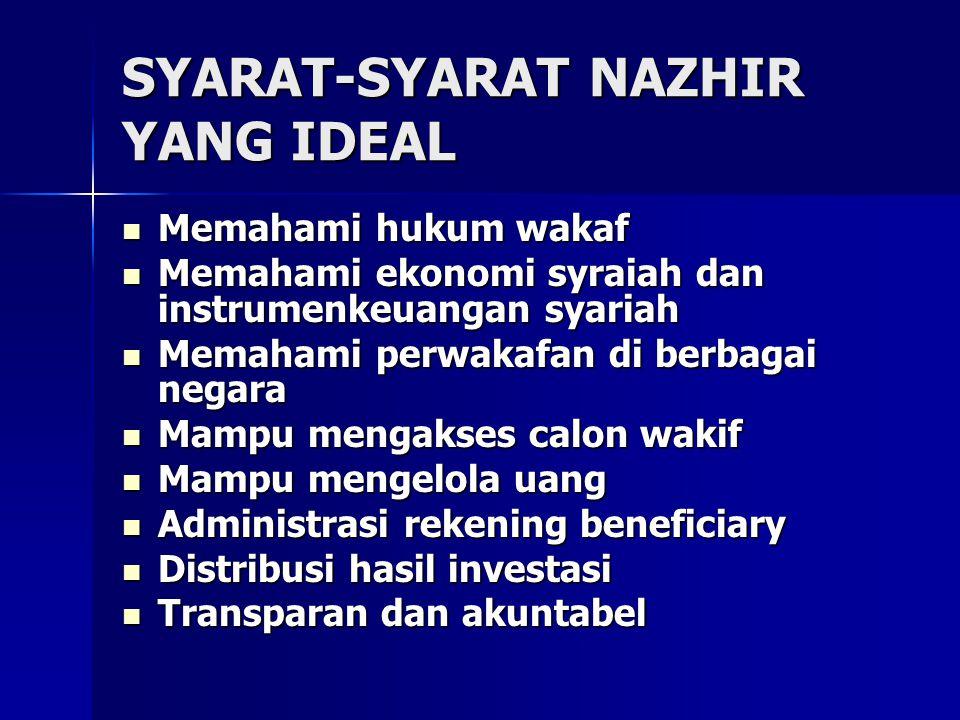 SYARAT-SYARAT NAZHIR YANG IDEAL Memahami hukum wakaf Memahami hukum wakaf Memahami ekonomi syraiah dan instrumenkeuangan syariah Memahami ekonomi syra