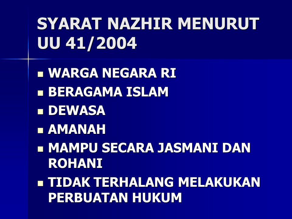 SYARAT NAZHIR MENURUT UU 41/2004 WARGA NEGARA RI WARGA NEGARA RI BERAGAMA ISLAM BERAGAMA ISLAM DEWASA DEWASA AMANAH AMANAH MAMPU SECARA JASMANI DAN RO