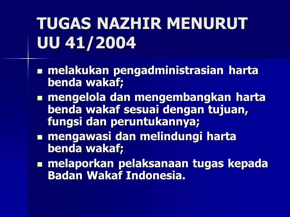 TUGAS NAZHIR MENURUT UU 41/2004 melakukan pengadministrasian harta benda wakaf; melakukan pengadministrasian harta benda wakaf; mengelola dan mengemba