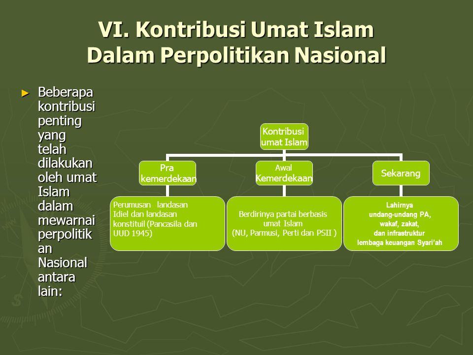 VI. Kontribusi Umat Islam Dalam Perpolitikan Nasional ► Beberapa kontribusi penting yang telah dilakukan oleh umat Islam dalam mewarnai perpolitik an
