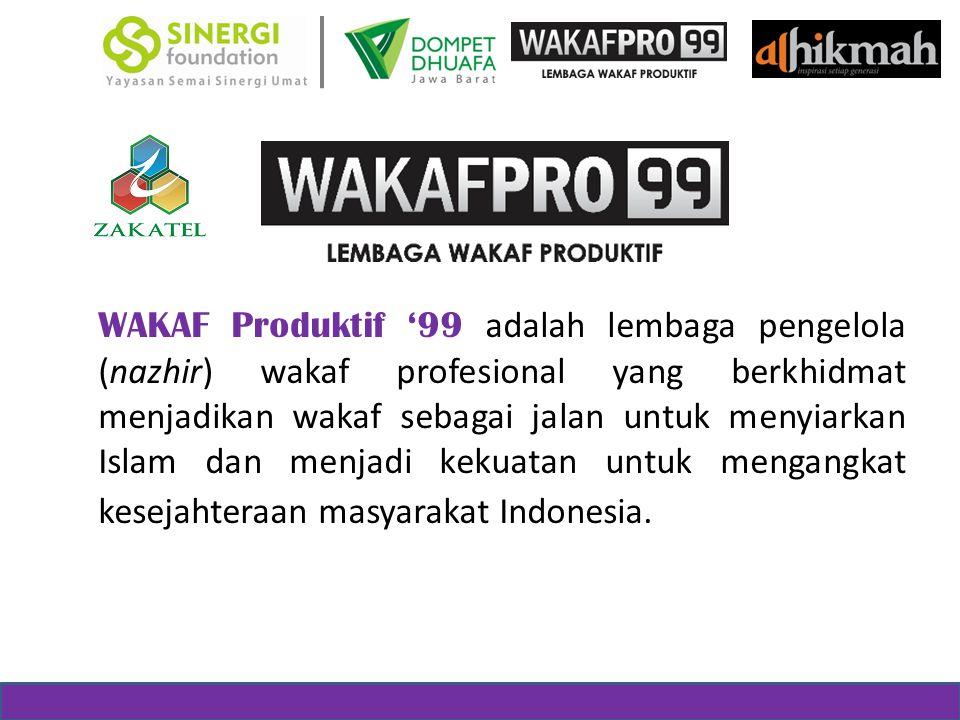 WAKAF Produktif '99 adalah lembaga pengelola (nazhir) wakaf profesional yang berkhidmat menjadikan wakaf sebagai jalan untuk menyiarkan Islam dan menjadi kekuatan untuk mengangkat kesejahteraan masyarakat Indonesia.
