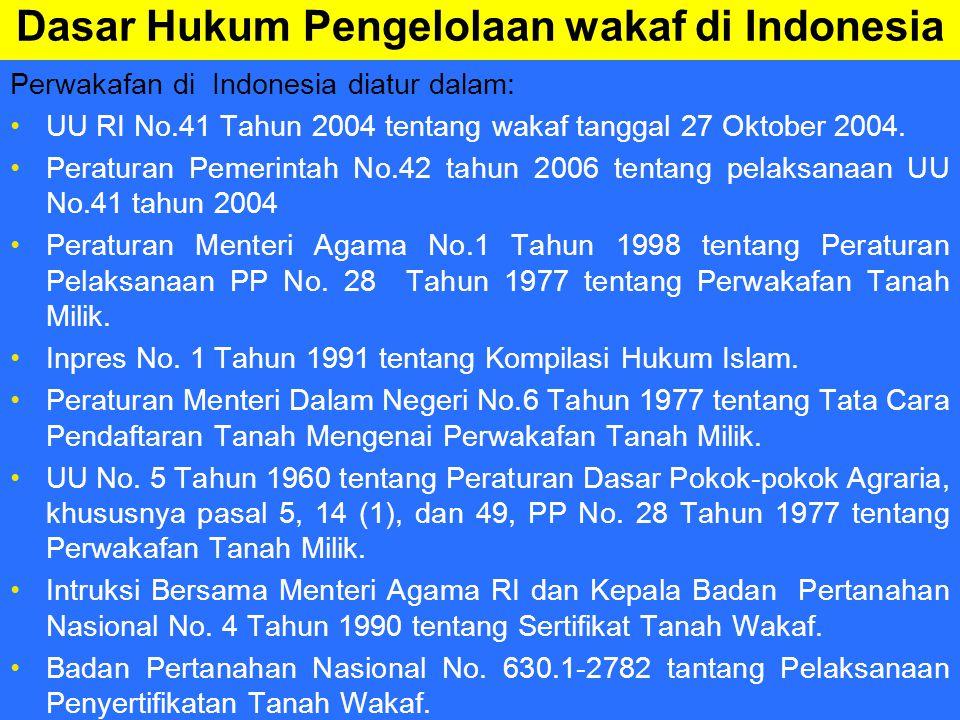 Dasar Hukum Pengelolaan wakaf di Indonesia Perwakafan di Indonesia diatur dalam: UU RI No.41 Tahun 2004 tentang wakaf tanggal 27 Oktober 2004.