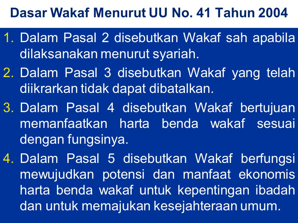 Dasar Wakaf Menurut UU No.
