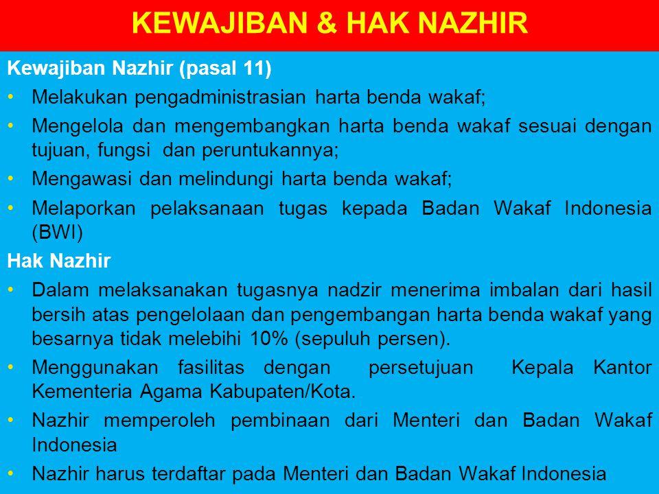 KEWAJIBAN & HAK NAZHIR Kewajiban Nazhir (pasal 11) Melakukan pengadministrasian harta benda wakaf; Mengelola dan mengembangkan harta benda wakaf sesuai dengan tujuan, fungsi dan peruntukannya; Mengawasi dan melindungi harta benda wakaf; Melaporkan pelaksanaan tugas kepada Badan Wakaf Indonesia (BWI) Hak Nazhir Dalam melaksanakan tugasnya nadzir menerima imbalan dari hasil bersih atas pengelolaan dan pengembangan harta benda wakaf yang besarnya tidak melebihi 10% (sepuluh persen).