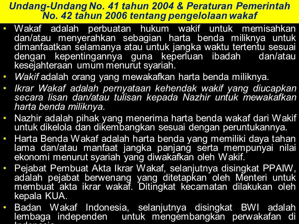 Undang-Undang No.41 tahun 2004 & Peraturan Pemerintah No.