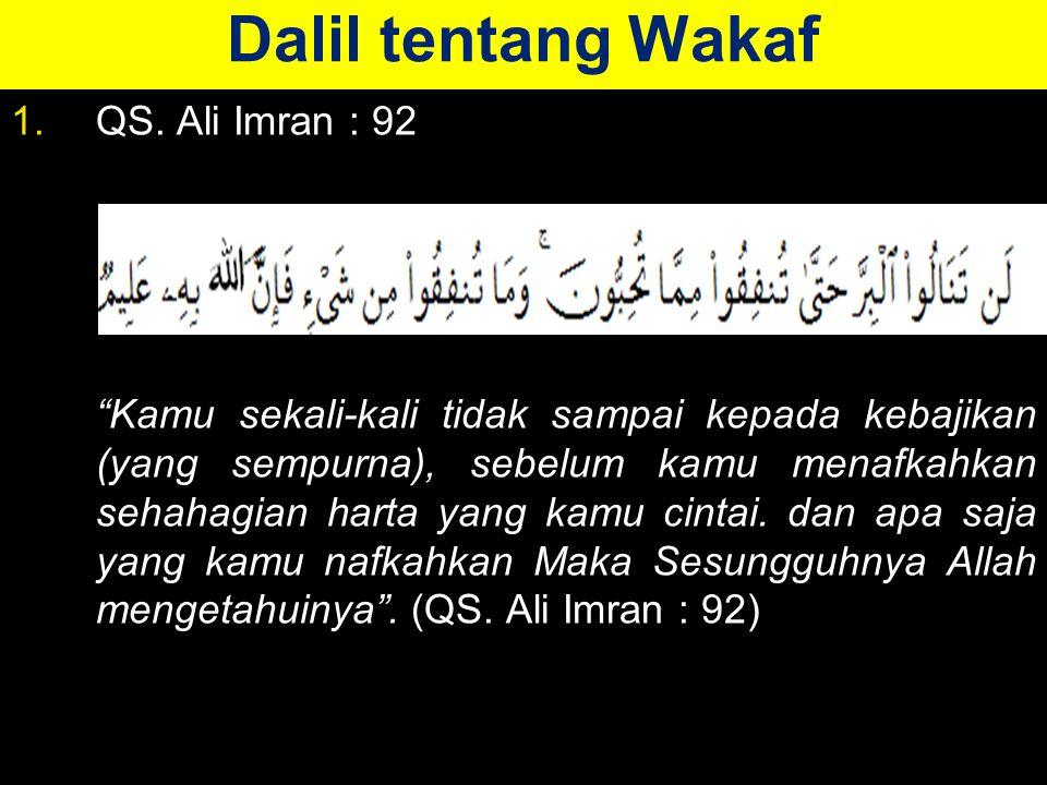 Dalil tentang Wakaf 1.QS.