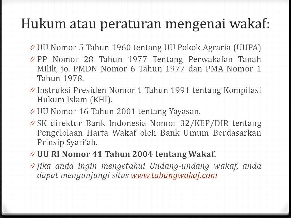 Hukum atau peraturan mengenai wakaf: 0 UU Nomor 5 Tahun 1960 tentang UU Pokok Agraria (UUPA) 0 PP Nomor 28 Tahun 1977 Tentang Perwakafan Tanah Milik, jo.