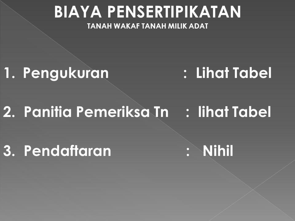 BIAYA PENSERTIPIKATAN TANAH WAKAF TANAH MILIK ADAT 1.Pengukuran : Lihat Tabel 2.