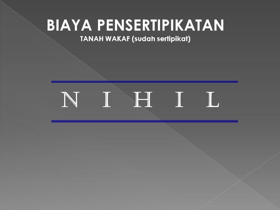 BIAYA PENSERTIPIKATAN TANAH WAKAF (sudah sertipikat) N I H I L
