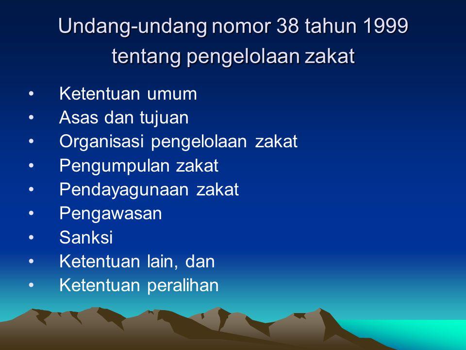 Undang-undang nomor 38 tahun 1999 tentang pengelolaan zakat Ketentuan umum Asas dan tujuan Organisasi pengelolaan zakat Pengumpulan zakat Pendayagunaa