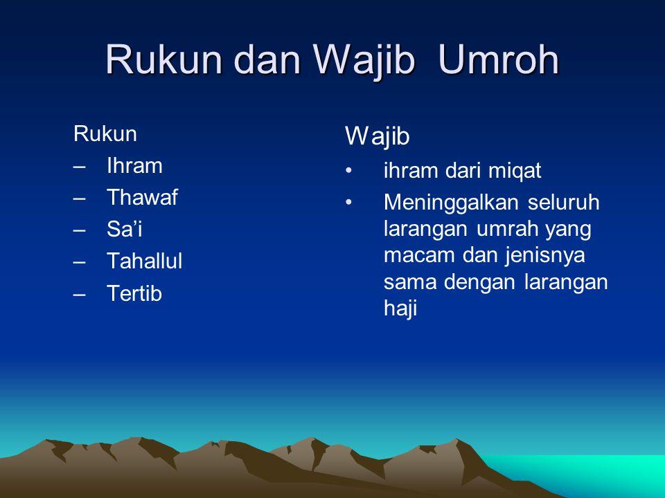 Rukun dan Wajib Umroh Rukun –Ihram –Thawaf –Sa'i –Tahallul –Tertib Wajib ihram dari miqat Meninggalkan seluruh larangan umrah yang macam dan jenisnya