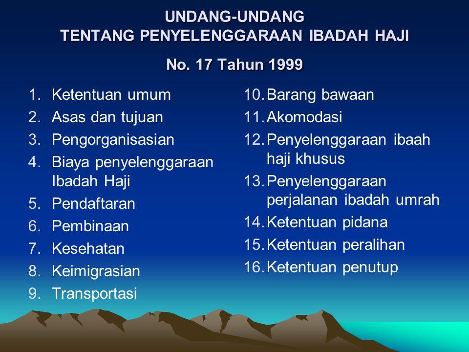 UNDANG-UNDANG TENTANG PENYELENGGARAAN IBADAH HAJI No. 17 Tahun 1999 1.Ketentuan umum 2.Asas dan tujuan 3.Pengorganisasian 4.Biaya penyelenggaraan Ibad