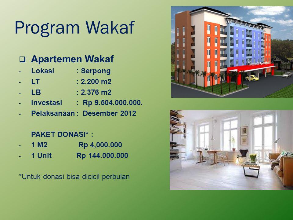 Program Wakaf  Apartemen Wakaf - Lokasi : Serpong - LT: 2.200 m2 - LB: 2.376 m2 - Investasi: Rp 9.504.000.000. - Pelaksanaan: Desember 2012 PAKET DON