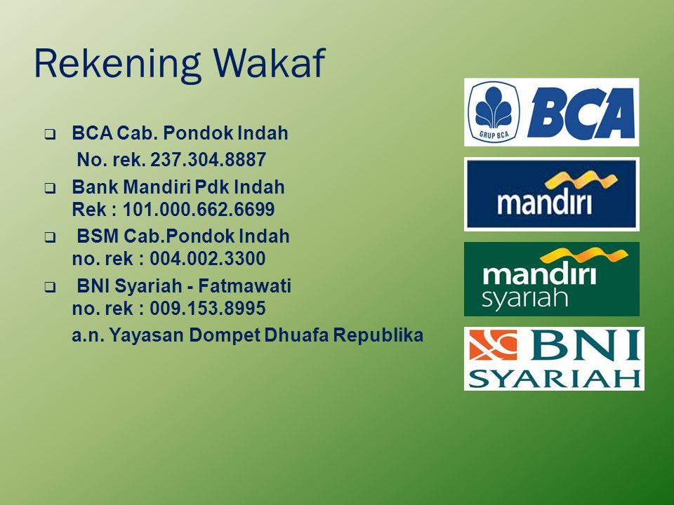 Rekening Wakaf  BCA Cab. Pondok Indah No. rek. 237.304.8887  Bank Mandiri Pdk Indah Rek : 101.000.662.6699  BSM Cab.Pondok Indah no. rek : 004.002.