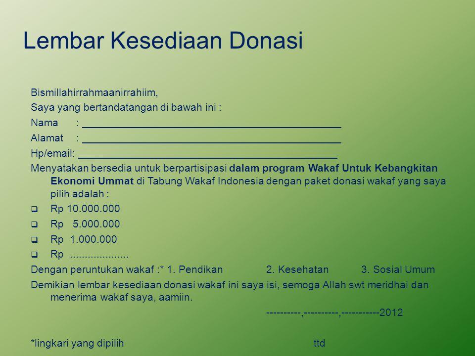 Lembar Kesediaan Donasi Bismillahirrahmaanirrahiim, Saya yang bertandatangan di bawah ini : Nama: ____________________________________________ Alamat: