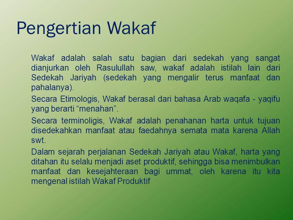 Pengertian Wakaf Wakaf adalah salah satu bagian dari sedekah yang sangat dianjurkan oleh Rasulullah saw, wakaf adalah istilah lain dari Sedekah Jariya