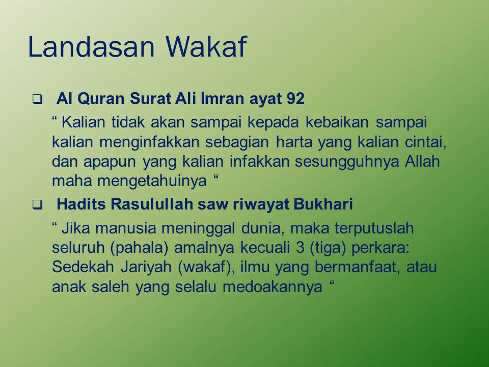 "Landasan Wakaf  Al Quran Surat Ali Imran ayat 92 "" Kalian tidak akan sampai kepada kebaikan sampai kalian menginfakkan sebagian harta yang kalian cin"