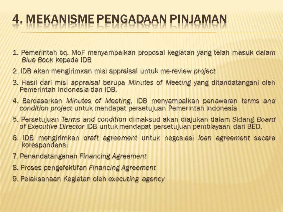 1. Pemerintah cq. MoF menyampaikan proposal kegiatan yang telah masuk dalam Blue Book kepada IDB 2. IDB akan mengirimkan misi appraisal untuk me-revie