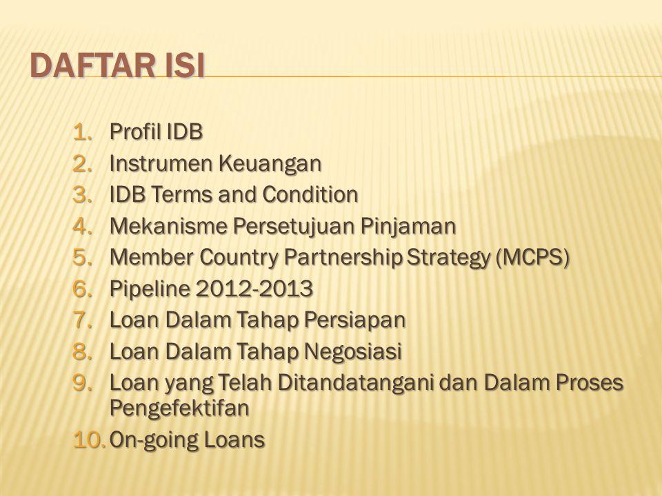 DAFTAR ISI 1.Profil IDB 2.Instrumen Keuangan 3.IDB Terms and Condition 4.Mekanisme Persetujuan Pinjaman 5.Member Country Partnership Strategy (MCPS) 6