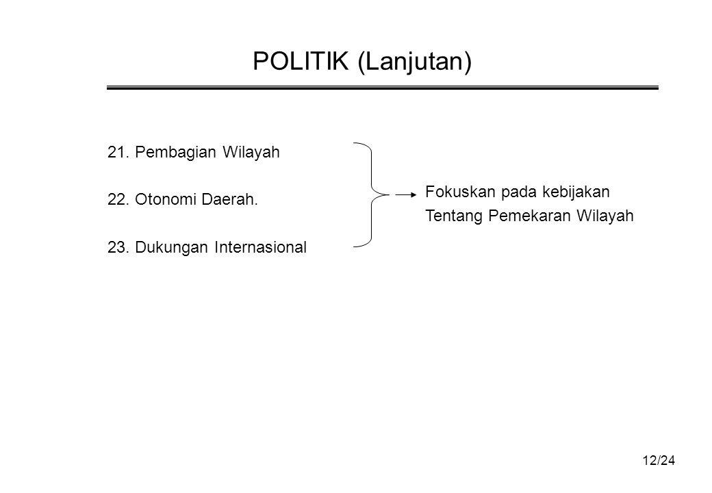 POLITIK (Lanjutan) 21.Pembagian Wilayah 22. Otonomi Daerah.