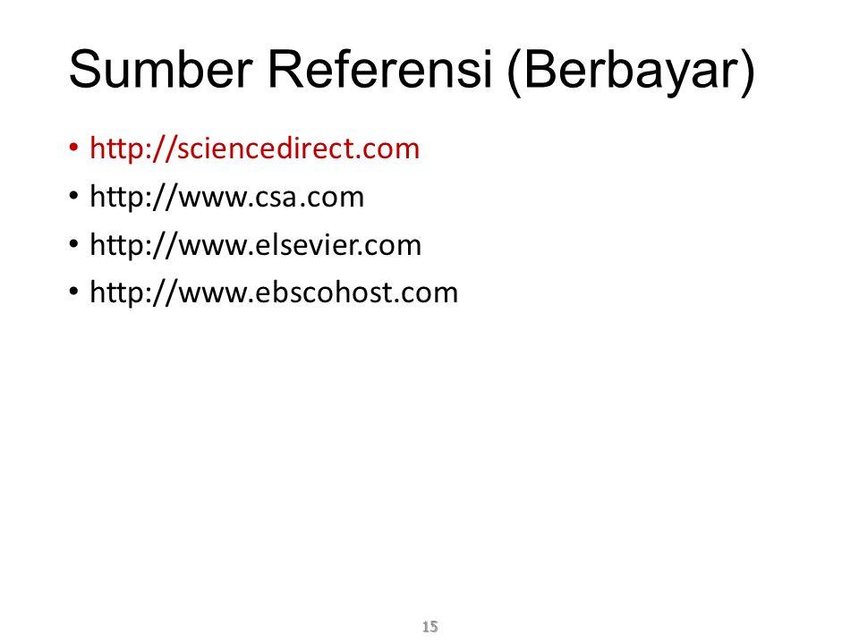 Sumber Referensi (Berbayar) http://sciencedirect.com http://www.csa.com http://www.elsevier.com http://www.ebscohost.com 15
