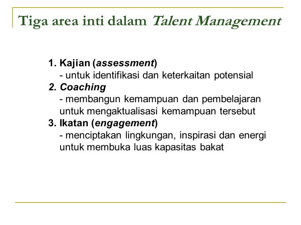 Tiga area inti dalam Talent Management 1.Kajian (assessment) - untuk identifikasi dan keterkaitan potensial 2.Coaching - membangun kemampuan dan pembe