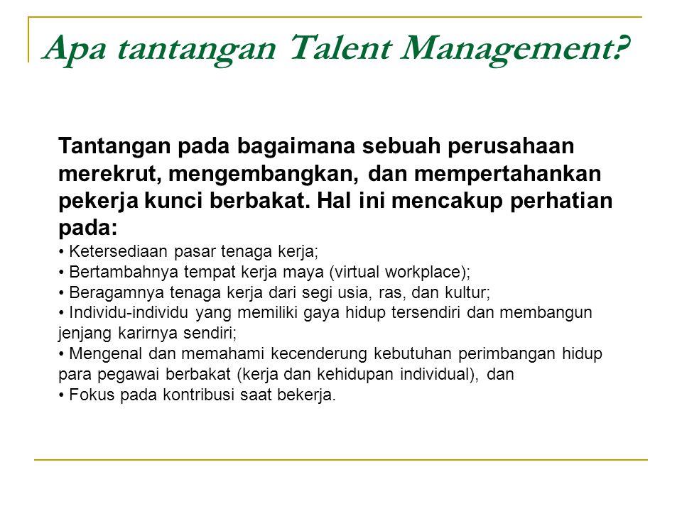 Apa tantangan Talent Management? Tantangan pada bagaimana sebuah perusahaan merekrut, mengembangkan, dan mempertahankan pekerja kunci berbakat. Hal in