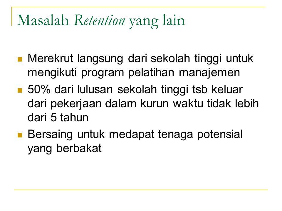 Masalah Retention yang lain Merekrut langsung dari sekolah tinggi untuk mengikuti program pelatihan manajemen 50% dari lulusan sekolah tinggi tsb kelu