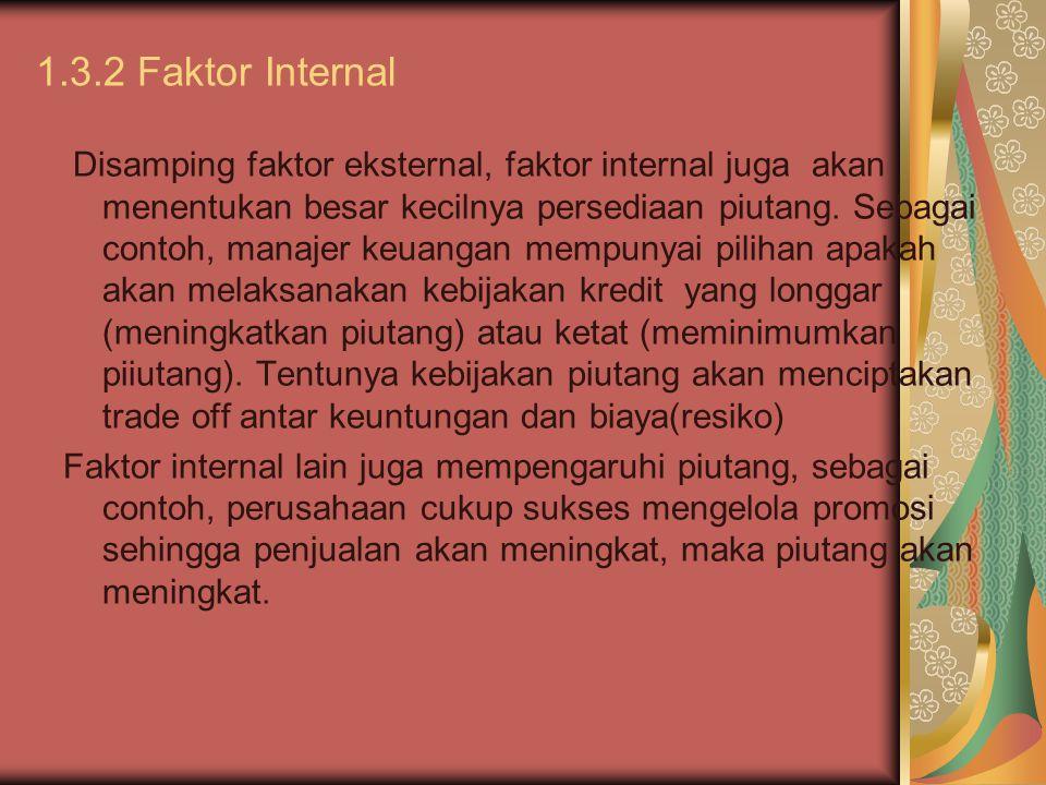 1.3.2 Faktor Internal Disamping faktor eksternal, faktor internal juga akan menentukan besar kecilnya persediaan piutang. Sebagai contoh, manajer keua