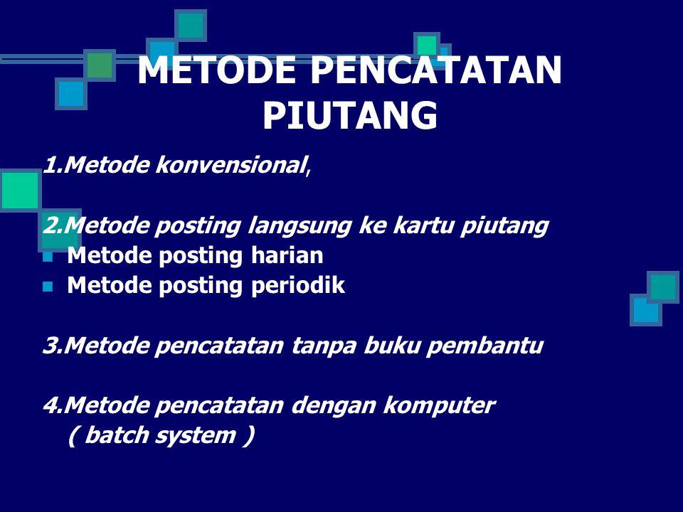 METODE PENCATATAN PIUTANG 1.Metode konvensional, 2.Metode posting langsung ke kartu piutang Metode posting harian Metode posting periodik 3.Metode pen