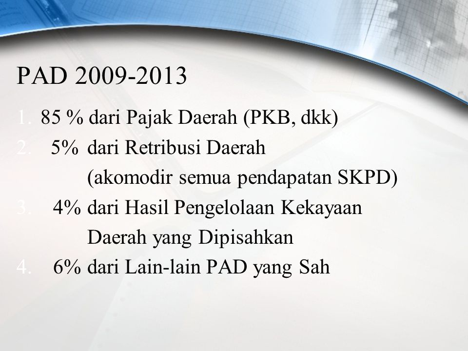 PERJALANAN PENDAPATAN DAERAH SELAMA 5 TAHUN (TAHUN ANGGARAN 2009-2013) NO. URAIAN APBD 2009 2010 2011 2012 2013 (Rp) (%) (Rp) (%) (Rp) (%) (Rp) (%) dr