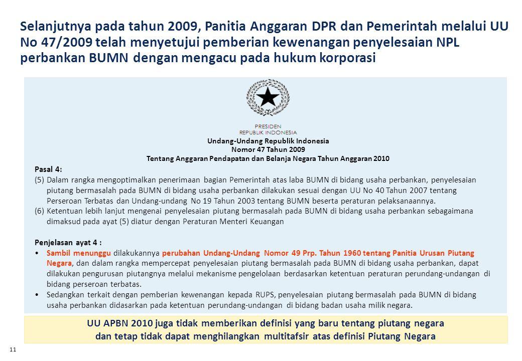 11 Pasal 4: (5)Dalam rangka mengoptimalkan penerimaan bagian Pemerintah atas laba BUMN di bidang usaha perbankan, penyelesaian piutang bermasalah pada BUMN di bidang usaha perbankan dilakukan sesuai dengan UU No 40 Tahun 2007 tentang Perseroan Terbatas dan Undang-undang No 19 Tahun 2003 tentang BUMN beserta peraturan pelaksanaannya.