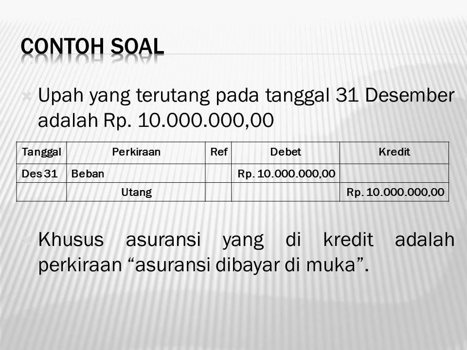 """ Upah yang terutang pada tanggal 31 Desember adalah Rp. 10.000.000,00  Khusus asuransi yang di kredit adalah perkiraan """"asuransi dibayar di muka"""". T"""