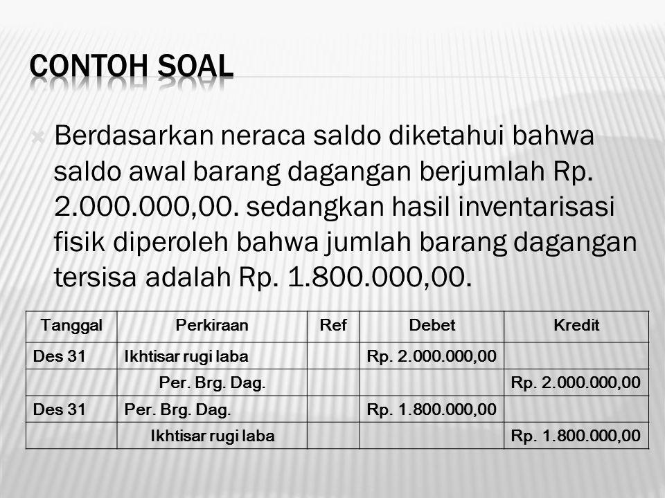  Berdasarkan neraca saldo diketahui bahwa saldo awal barang dagangan berjumlah Rp. 2.000.000,00. sedangkan hasil inventarisasi fisik diperoleh bahwa