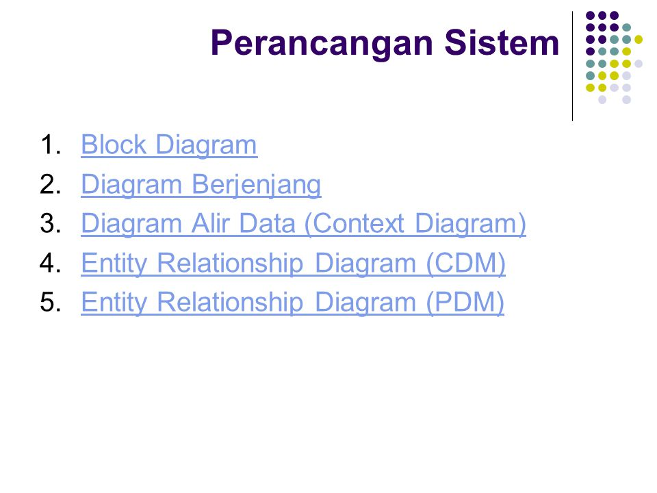 Perancangan Sistem 1.Block DiagramBlock Diagram 2.Diagram BerjenjangDiagram Berjenjang 3.Diagram Alir Data (Context Diagram)Diagram Alir Data (Context Diagram) 4.Entity Relationship Diagram (CDM)Entity Relationship Diagram (CDM) 5.Entity Relationship Diagram (PDM)Entity Relationship Diagram (PDM)