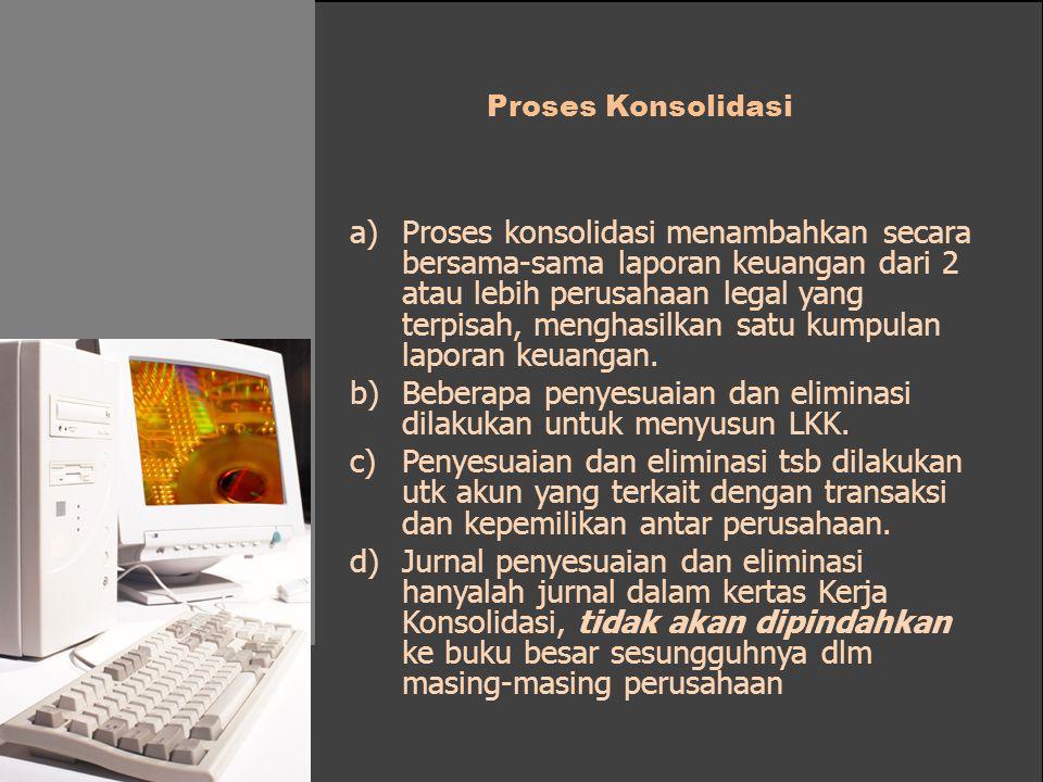 Proses Konsolidasi a)Proses konsolidasi menambahkan secara bersama-sama laporan keuangan dari 2 atau lebih perusahaan legal yang terpisah, menghasilka