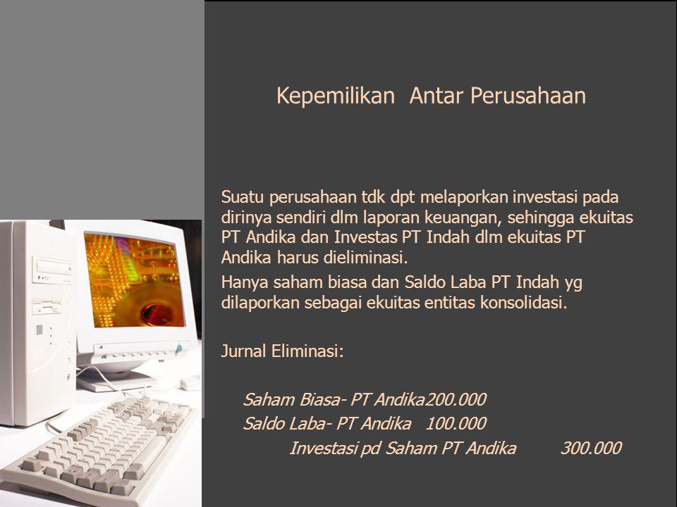 Kepemilikan Antar Perusahaan Suatu perusahaan tdk dpt melaporkan investasi pada dirinya sendiri dlm laporan keuangan, sehingga ekuitas PT Andika dan I