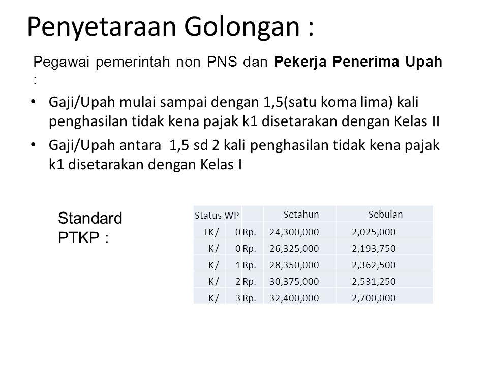 Penyetaraan Golongan : Pegawai pemerintah non PNS dan Pekerja Penerima Upah : Gaji/Upah mulai sampai dengan 1,5(satu koma lima) kali penghasilan tidak kena pajak k1 disetarakan dengan Kelas II Gaji/Upah antara 1,5 sd 2 kali penghasilan tidak kena pajak k1 disetarakan dengan Kelas I Standard PTKP : Status WP Setahun Sebulan TK/0Rp.