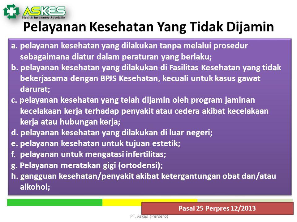 PT.Askes (Persero) Pelayanan Kesehatan Yang Tidak Dijamin a.