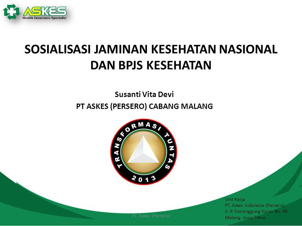 SOSIALISASI JAMINAN KESEHATAN NASIONAL DAN BPJS KESEHATAN Susanti Vita Devi PT ASKES (PERSERO) CABANG MALANG Unit Kerja PT. Askes Indonesia (Persero)