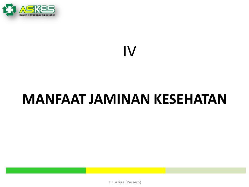 PT. Askes (Persero) MANFAAT JAMINAN KESEHATAN IV